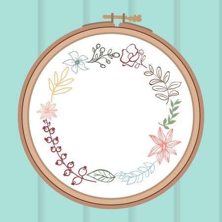embroidery flower: Cute card with laurel flower bouquet on embroidery frame. Wooden background.  Illustration