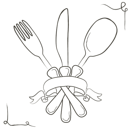 drawing board: Vector hand drawn illustration with cutlery set. Sketch. Vintage illustration.