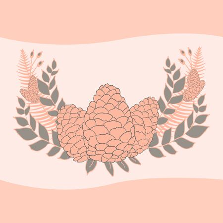 pine cones: Pine cones set. Frame wreath. Larch branches with cones. Invitation card. Wedding invitation. Greeting card. Pine decorative elements for your design.  Illustration