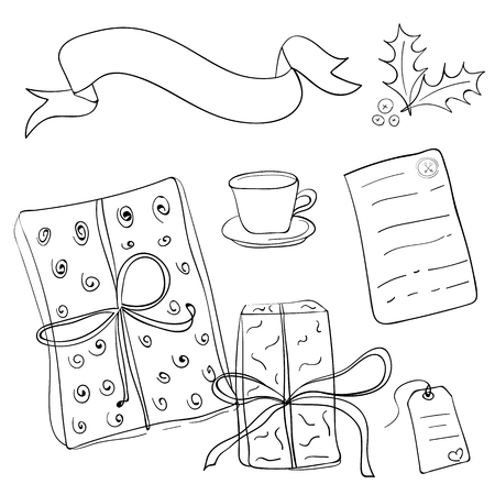 trapezium: Set of vector sketch gifts. Hand drawn elements for your festive design. Christmas gifts.