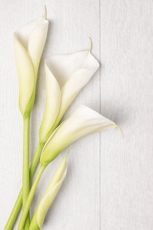 Elegant lentebloem, calla lelie op rustieke houten tafel. image bruiloft achtergrond voor. Bovenaanzicht met een kopie ruimte Stockfoto
