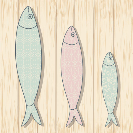 chevron patterns: Traditional Portuguese icon. Colored sardines with geometric chevron patterns on wooden background. Fish vector illustration