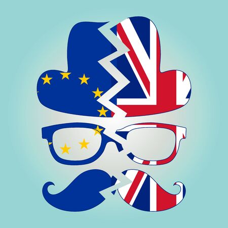 british man: Brexit concept. British invisible man with two torn flags - EU and UK. Vector. Illustration