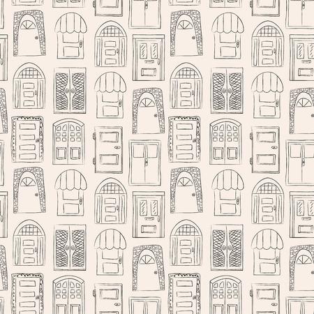 Naadloos patroon. Het verzamelen van oude deur pictogram, geïsoleerde illustratie vector. Set met close-up houten deur. eenvoudig ontwerp Vector Illustratie