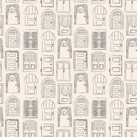 old wooden door: Seamless pattern. Collection of old door icon, isolated illustration vector. Set with close up wooden door. Simple design