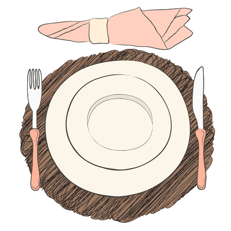 eating utensils: Informal vector table setting. Tableware and eating utensils are set at the table for serving. Simply style place setting or table setting or laying a table) are for casual dining. Illustration
