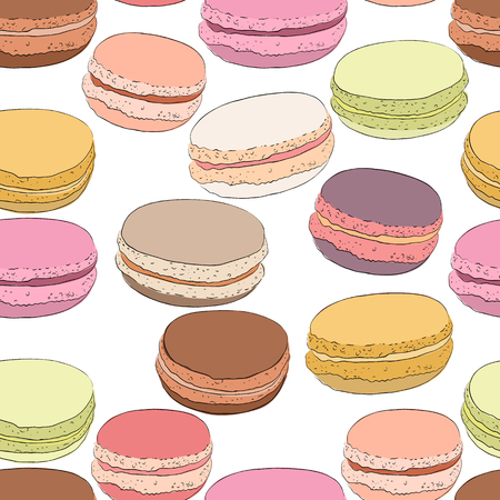 Seamless pattern of colorful doodle macaroons. Sketch macaroon. Macaroons handmade. Objects for design. French dessert. Cute macaroon with doodles. Vector illustration.