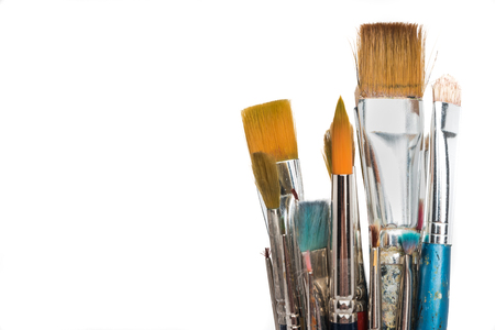 Artist paint brushes. Isolated with copy space