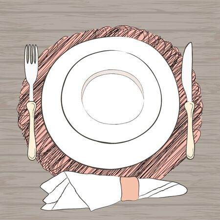 Informal Table Setting: Informal Vector Table Setting. Tableware And Eating  Utensils Are Set At