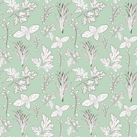Vector fresh parsley, thyme, rosemary, and basil herbs. Aromatic leaves used to season meats, poultry, stews, soups, Bouquet granny. Seamless pattern Illustration