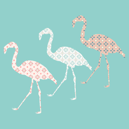 Hand drawn flamingo with tile pattern. Colorful sketch style. Vector illustration. Exotic bird.