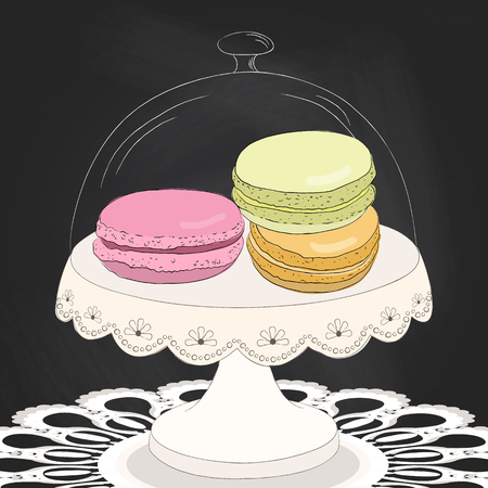 macaron: Colorful doodle macaroon on plate. Sketch macaroon. Chalkboard background. Macaroons handmade. Objects for design. French dessert. Cute macaroon with doodles. Vector illustration.