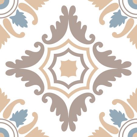 Portugese tegels naadloos patroon. Uitstekende achtergrond - Victoriaanse keramische tegels in vector