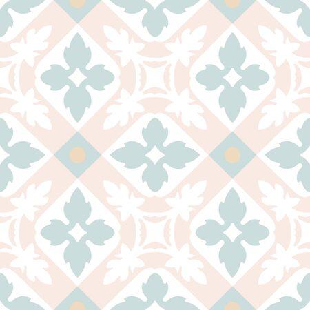 Portugees tegels naadloos patroon. Uitstekende achtergrond - Victoriaanse keramische tegel in vector Stock Illustratie