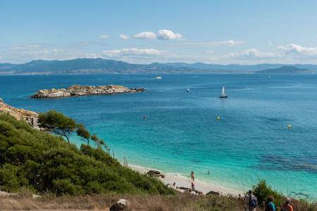 ISLAS CIES, VIGO, SPAIN - SEPTEMBER 16, 2017: View of the Playa de Nossa Senora at Cies islands of Spain included in the Atlantic Islands of Galicia National Park