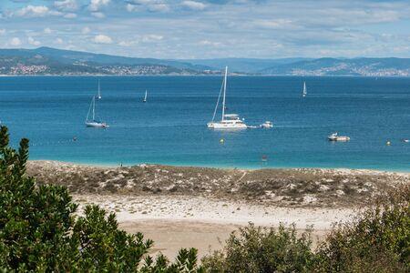 ISLAS CIES, VIGO, SPAIN - SEPTEMBER 16, 2017: View of the Playa de Rodas at Cies islands of Spain included in the Atlantic Islands of Galicia National Park.