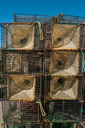Traps for catching octopus and fish in the sea, close-up