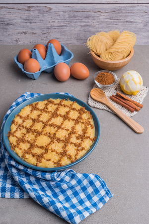 Aletria is a classic Portuguese vermicelli pudding and this is a traditionally served at Christmas time. This is one of the favourites pudding from Portugal Stock Photo