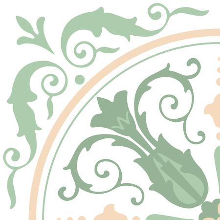 Portugees tegelspatroon. Uitstekende achtergrond - Victoriaanse keramische tegel in vector Stock Illustratie