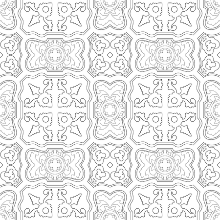 Portuguese tiles pattern. Vintage background. Vector seamless texture. Beautiful colored pattern for design and fashion with decorative elements Illustration