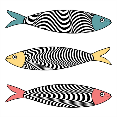 Traditional Portuguese icon. Colored sardines with typical Portuguese tiles patterns. Vector illustration 일러스트