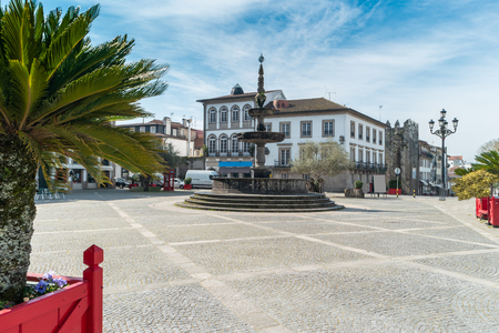 View of the main square called Camoes Square in the historical centre of Ponte de Lima Portugal