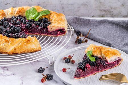 Blackberries pie. Pie in summer with fresh picked wild blackberries