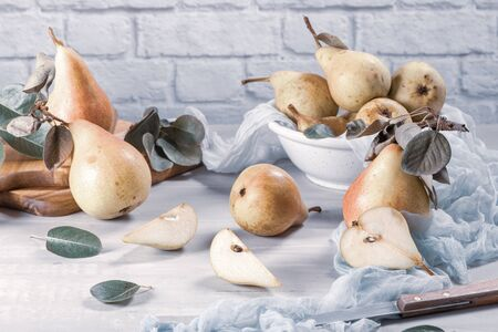 Fresh organic pears. Fruit background. Pear autumn harvest. Reklamní fotografie