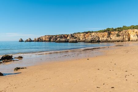 View of the Alemao Beach (Praia do Alemao) in Portimao Algarve Portugal; Concept for travel in Portugal and Algarve.