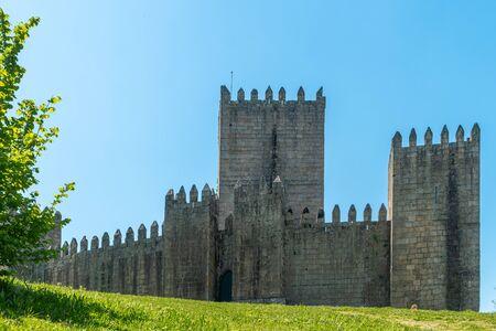 Castelo de Guimaraes Castle. Most famous castle in Portugal. Birth place of the first Portuguese King and the Portuguese nation. Guimaraes, Portugal.
