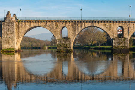 Ancient roman bridge of Ponte da Barca, ancient portuguese village in the north of Portugal.