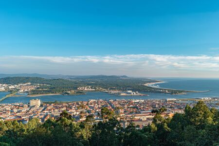 Aerial view of the famous city Viana do Castelo. Is a municipality and seat of the district of Viana do Castelo in the Norte Region of Portugal.