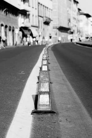 b w: B & W line of traffic dividers