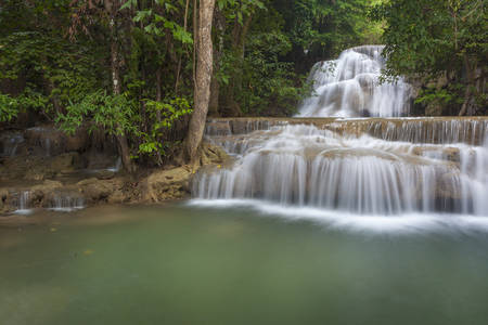 kamin: Huay Mae Kamin Waterfall in Kanchanaburi province, Thailand Stock Photo