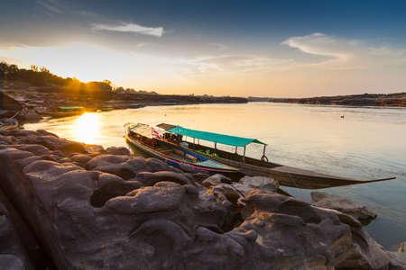 The Grand Canyon of Siam with Mekong river is name Sam Phan Bok (Three thousand holes) at Ubon Ratchathani Thailand