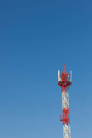 telecommunication tower: Telecommunication tower on blue sky for web background Stock Photo