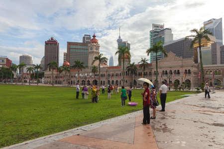 merdeka: Kuala Lumper Malaysia  November 03 2012: KUALA LUMPUR MALAYSIA : Tourists in The Merdeka Square on November 03 2012 in Kuala Lumpur Malaysia.