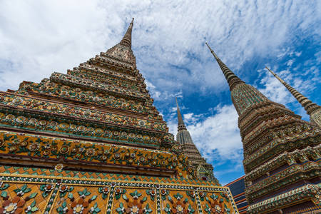 ceremic: Detailed architecture in Wat Pho, Temple of Reclining Buddha Stock Photo