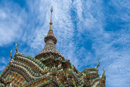 reclining: Detailed architecture in Wat Pho, Temple of Reclining Buddha Stock Photo
