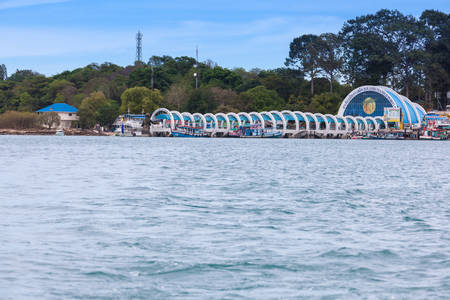 foreigner: RAYONG, THAILAND - May 14 2014: The beautiful entrance of Samet island which welcome for all foreigner and Thai people to visit to Samet island Editorial