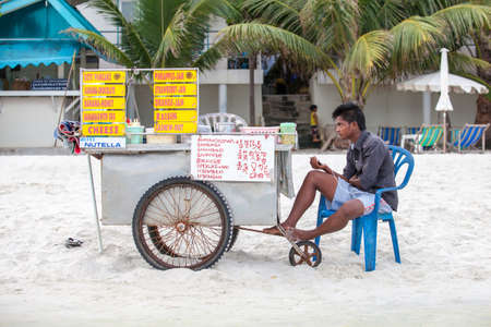 bannana: RAYONG, THAILAND - May 13 2014: Roti Shop Selling at the beach of the Koh Samed, Thailand.