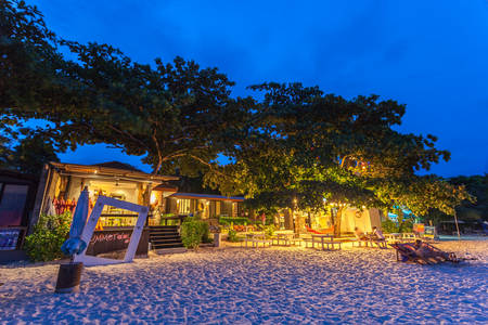 accommodation: RAYONG, THAILAND - May 13 2014: Living tourist accommodation on the Samed island at night.