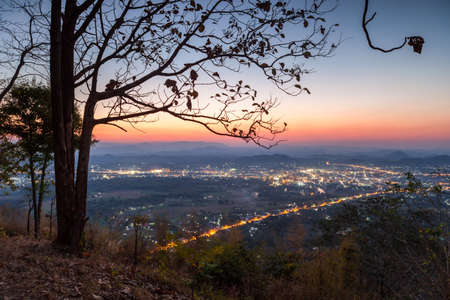 loei: Loei city was evening on Phu Boa Bid viewpoint. Loei Province, Thailand.
