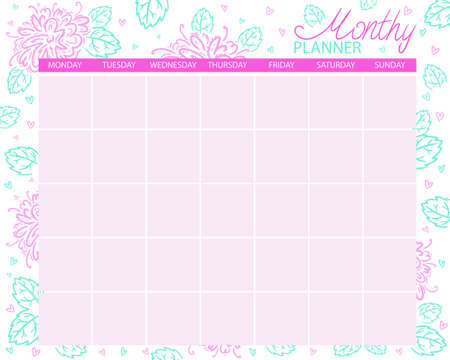 Monthly planner. Calendar for the month, planning tasks. For self print. Floral design. Light colors, concise design.