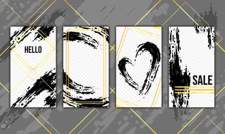 Trendy editable template for stories. Vector. Artistic brush strokes. Golden elements. Design backgrounds for social networks.