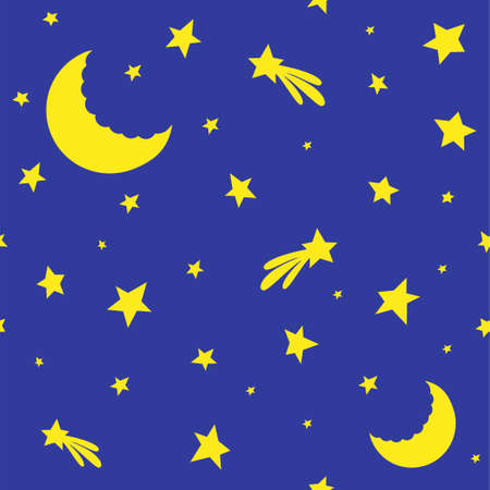 Starry sky. The moon shines around the stars and comets. Ilustrace