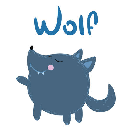 Cute wolf cub on a white background. Zdjęcie Seryjne - 122898040