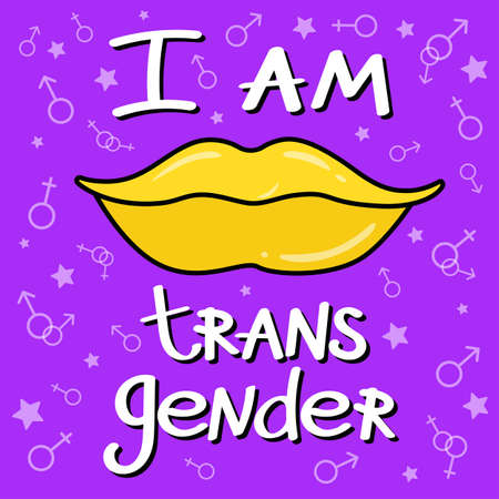 Phrase: I'm transgender. LGBT inscription. Conceptual poster with the inscription LGBT Rainbow hand. Vector typographic illustration to support the gay community. Ilustracja