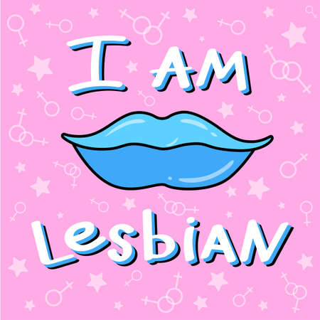 Phrase: I'm lesbian. LGBT inscription. Conceptual poster with the inscription LGBT Rainbow hand. Vector typographic illustration to support the gay community.