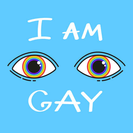 Phrase: I'm gay. LGBT inscription. Conceptual poster with the inscription LGBT Rainbow hand. Vector typographic illustration to support the gay community.